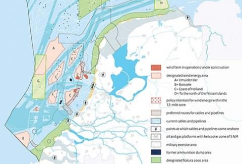Fig. 2-19: designated areas for offshore wind energy in the Dutch EEZ (Noordzeeloket 2015, via SENSEI 2016)